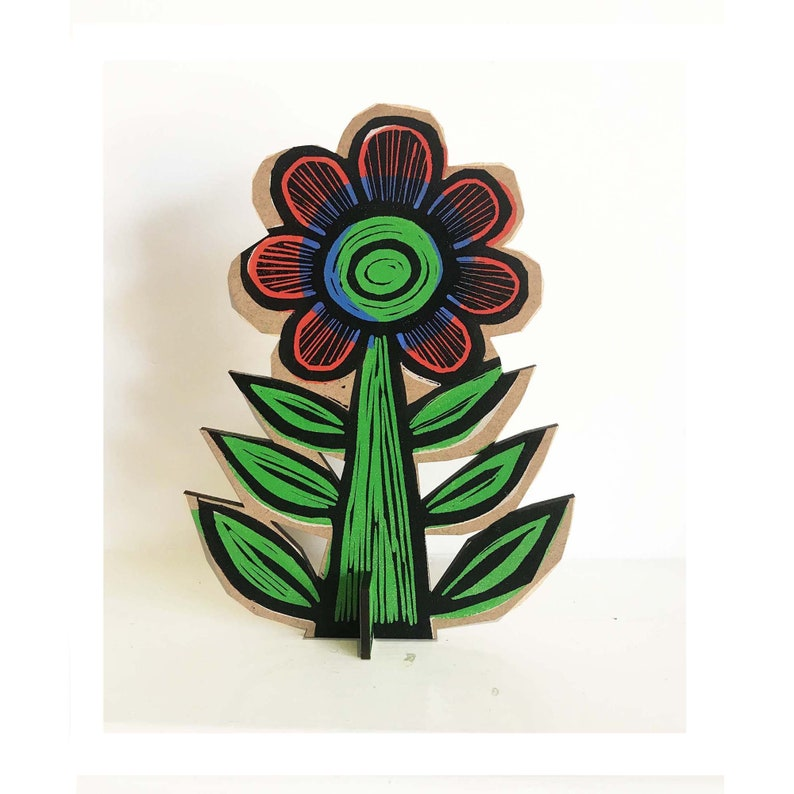 Flower linocut print onto wood image 0