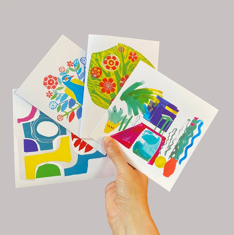 Set of four blank greeting cards from original collages and image 1