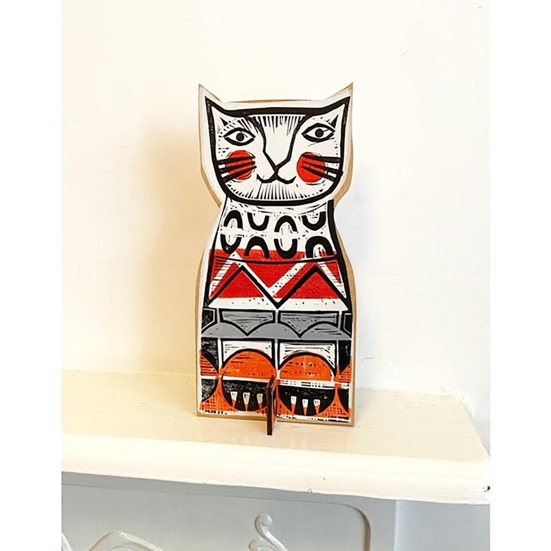Ginger Cat linocut print onto wood image 0