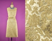 60s Damask Belted Wiggle Dress Tapestry Fabric Bodycon Mod - Mad Men 30 quot Waist Medium Large