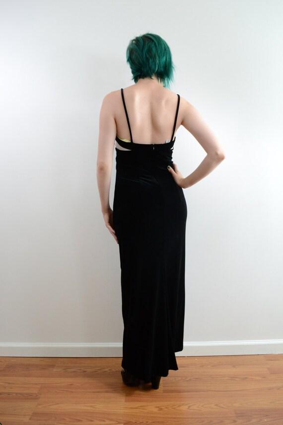 1990s Jessica McClintock Velvet Maxi Dress in Bla… - image 4