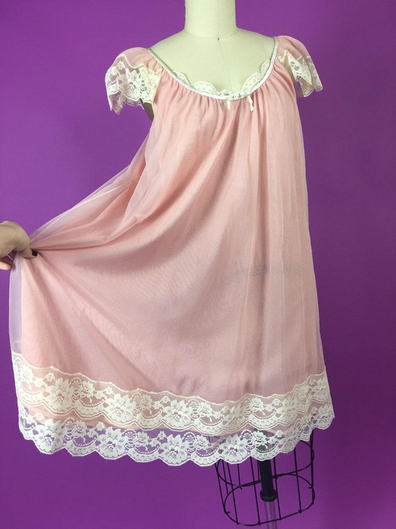 60s Flutter Sleeve Dusty Rose Baby Doll Nightie Nightgown  Medium Large