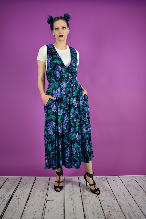 Vintage Floral Overall Dress Green and Purple - 19