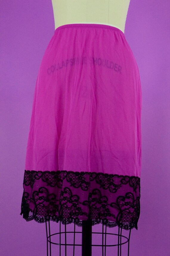 Vintage Vaserette Fuchsia Half Slip - Black Lace T