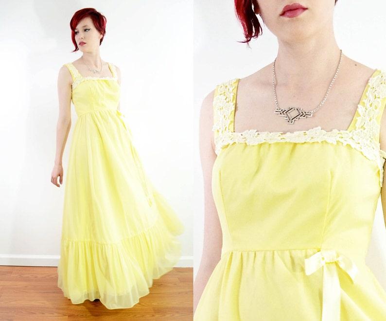 ffe0e0735bf5 60s Lemon Chiffon Spring Formal Gown Crochet Lace Trim | Etsy