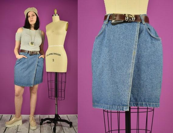 Vintage Denim Mini Skirt Western Belt - Cowgirl We