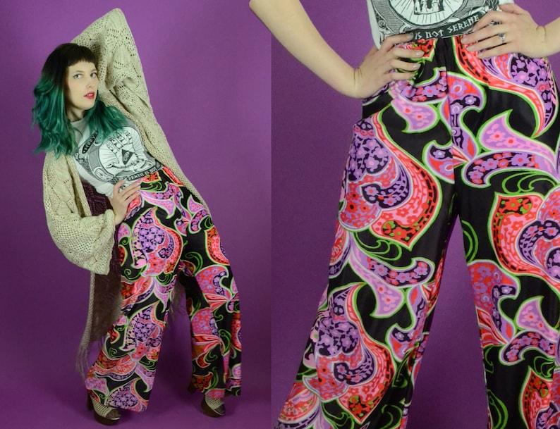 7f738bebeff5a 60s Psychedelic Pants Paisley Pants Palazzo Pants Lounge | Etsy