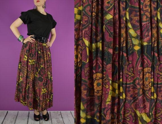 Vintage Batik Rayon Stretch Light Brown Boho Skirt! Sizes S M L