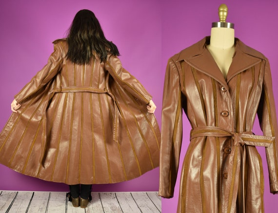 1970s Striped Leather Trench Coat in Caramel Brown