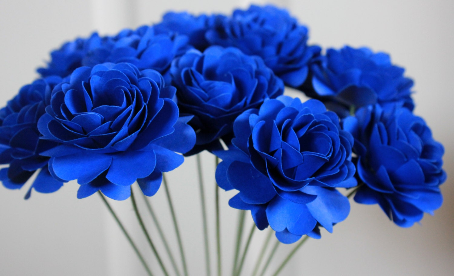 Cobalt Blue Paper Dahlia Flowers Made To Order Wedding Etsy