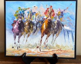 ZOPT97 high quality 100/% hand painted horse racing ART OIL PAINTING ON CANVAS