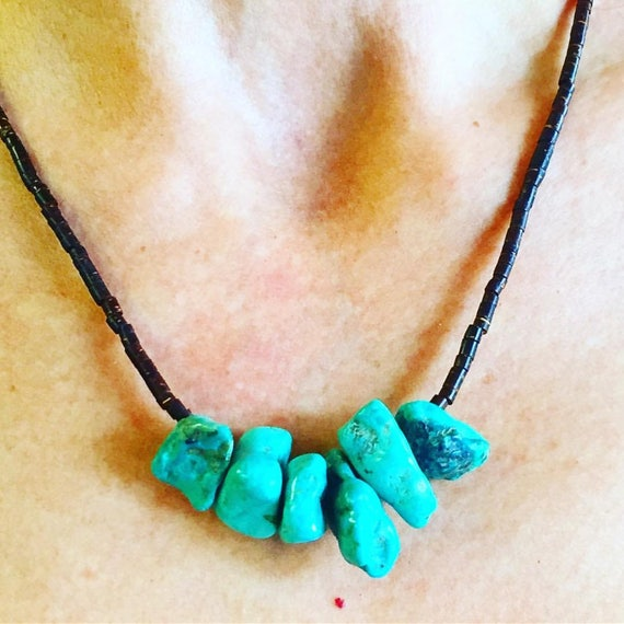 Vintage Raw Turquoise 1960s Necklace With Shell Heshi Beads Etsy