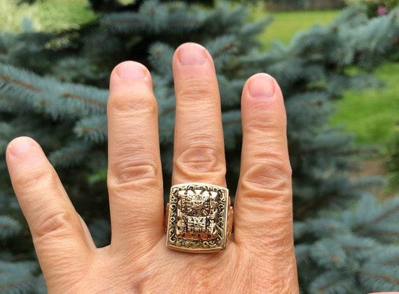 Vintage Mayan or Egyptian Men's Ring-Handmade 1970