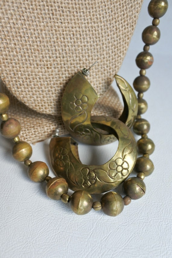 Brass Jewelry Vintage 1970s Three Piece Set Round Beaded Etsy