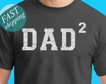Dad 2 Men's T shirt Dad Squared Shirt Father of 2 Kids Father's Day Shirt Pregnancy Announcement Shirt For New Dad Gift For Dad From Kids