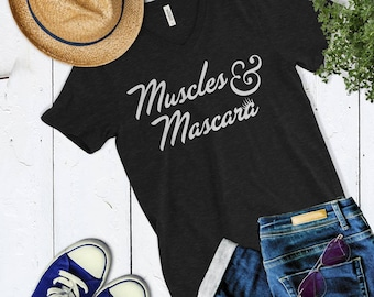 76a75905c432ca Cute Muscles and Mascara Womens Vneck Shirt. Cute Workout Shirt. Workout  Motivation. Cute Workout Top.