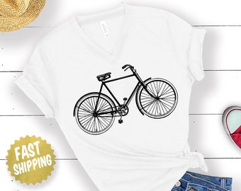 Cute Women s Bicycle Shirt. Women s V-Neck Vintage Style Bicycle T Shirt. Bike  Shirt For Women. cd3e75788