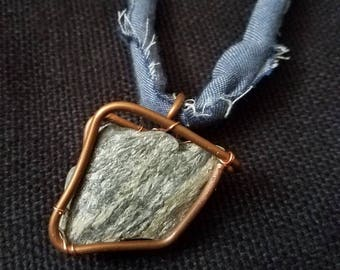 Wrapped Shale and Denim Necklace