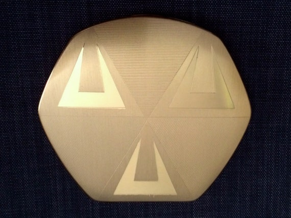 Superb 40s or 50s Deco Compact, Elgin American, Ne