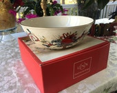 Lenox winter greetings wide Serving bowl dish Gold gilded Catherine Mclung 10.5 quot W 3.5 quot tall Mint with box