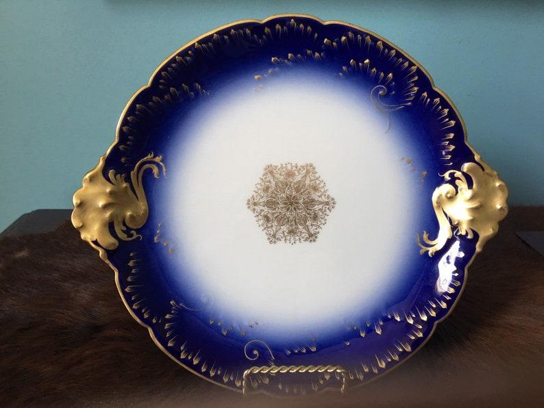 Limoges France Wm Guerin Co handled serving round platter 10.75 wide