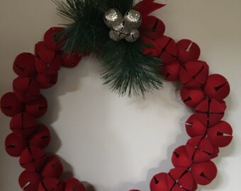 Christmas bell wreath red velvety bells
