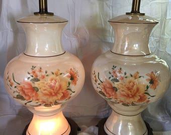 Set of two table lamps lustreware brass base flower design