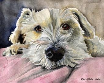 "Custom Pet Portrait 8"" x 10"" ORIGINAL ART  by Michelle B Wheeler - Watercolor  Painting - dog cat bird horse wild animal - Personal Gift"