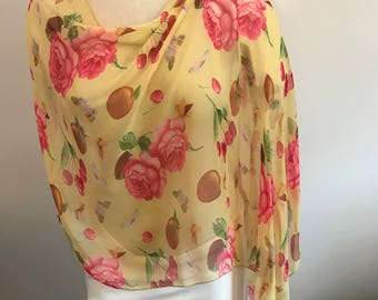 Roses, Cherries & Peaches Silk Chiffon Poncho