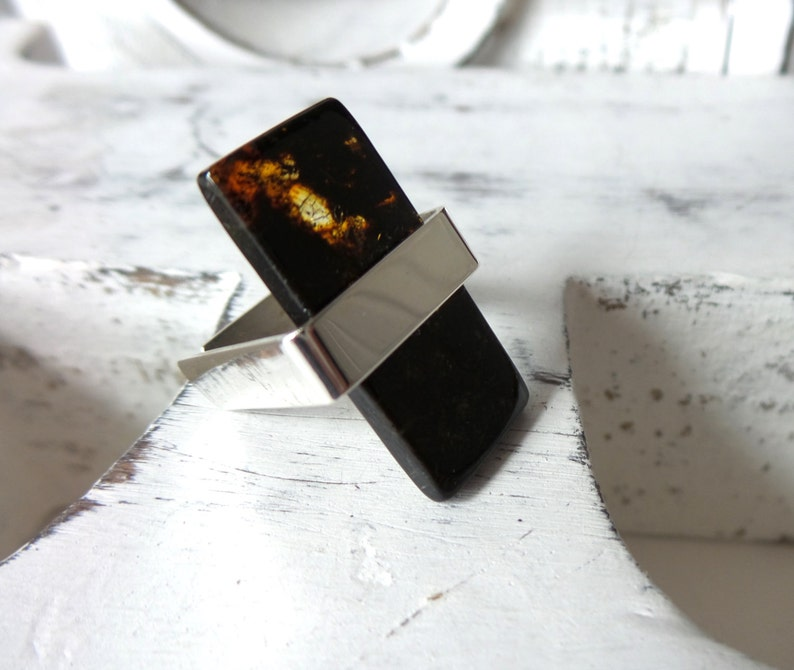 Baltic Amber Ring Sterling Silver Ring Baltic Amber Jewelry .