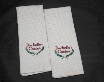 Custom Embroidered Kitchen Dish Towels COCINA *Name* w/wreath