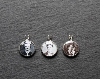 Rimbaud Poe Shakespeare Woolf Baudelaire  gothic cameo necklace Lovecraft Author portrait pendant: Wilde Hugo Austen Dostoevskij