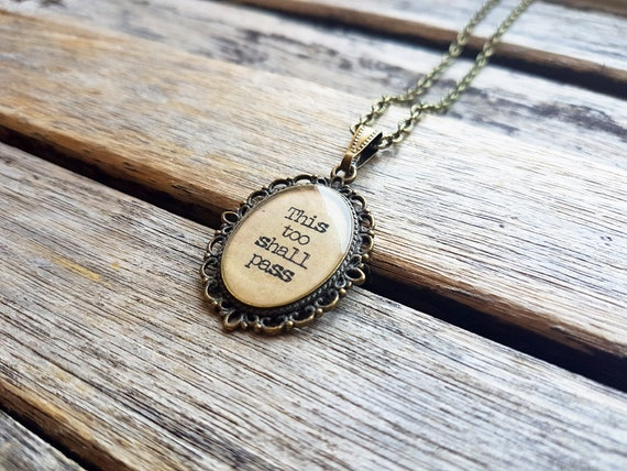 This Too Shall Pass Quote Cameo Pendant This Too Shall Pass Etsy