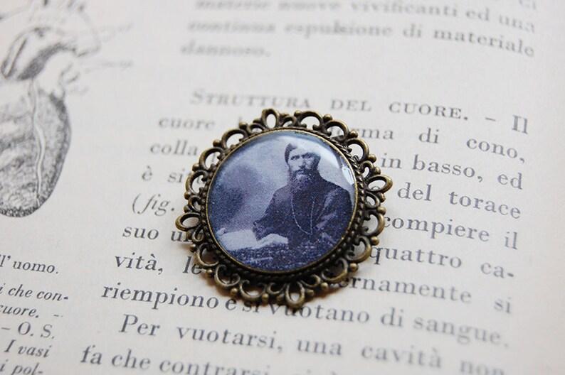 Grigorij Rasputin - Handmade Cameo Brooch - Vintage Style - Antique -  Rasputin Brooch - Occult - Occultism - Goth - Gothic - Esoteric - Dark