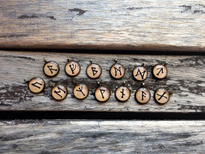 Rune of wealth Witchy Esoteric Pagan Elder Futhark Fehu pendant Occult Dark Norse jewellery Viking Fehu rune Runic Fehu necklace
