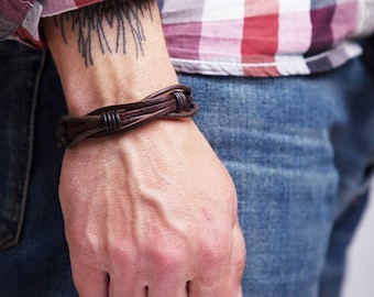 Mens Leather Bracelet for Men Fathers Day Gift Husband Birthday Gift for Dad Rustic Brown Braided Leather Bracelet Mens Gift Ideas Unique