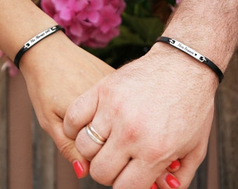 9a28f68e45 Always and Forever Matching Couple Bracelets Leather Bracelet His and Her  For Her Personalized Matching Jewelry Boyfriend Girlfriend Gift