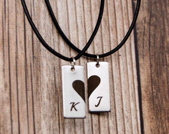 9f3d40a0e2 Couples Relationship Necklace Set of 2 Initial Matching Necklaces For  Girlfriend Boyfriend His Her Gift Ideas Initials Necklace Broken Heart