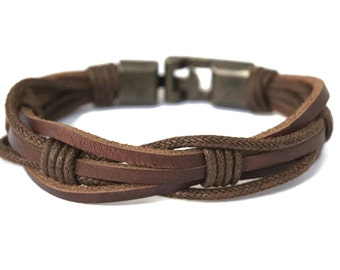 8f960788a01 Mens Leather Bracelet for Men Rustic Brown Braided Leather Bracelet Mens  Gift Ideas Husband Birthday Gift for Dad Male Bracelet Unique Gifts
