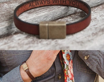 Boyfriend Gift Anniversary Christmas Gift For Boyfriend Hidden Message Bracelet for Men Gifts Father Day Gift Personalized Leather Bracelet