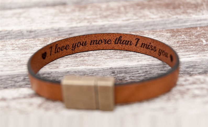 Christmas Gift for Boyfriend Personalized Leather Bracelet image 0