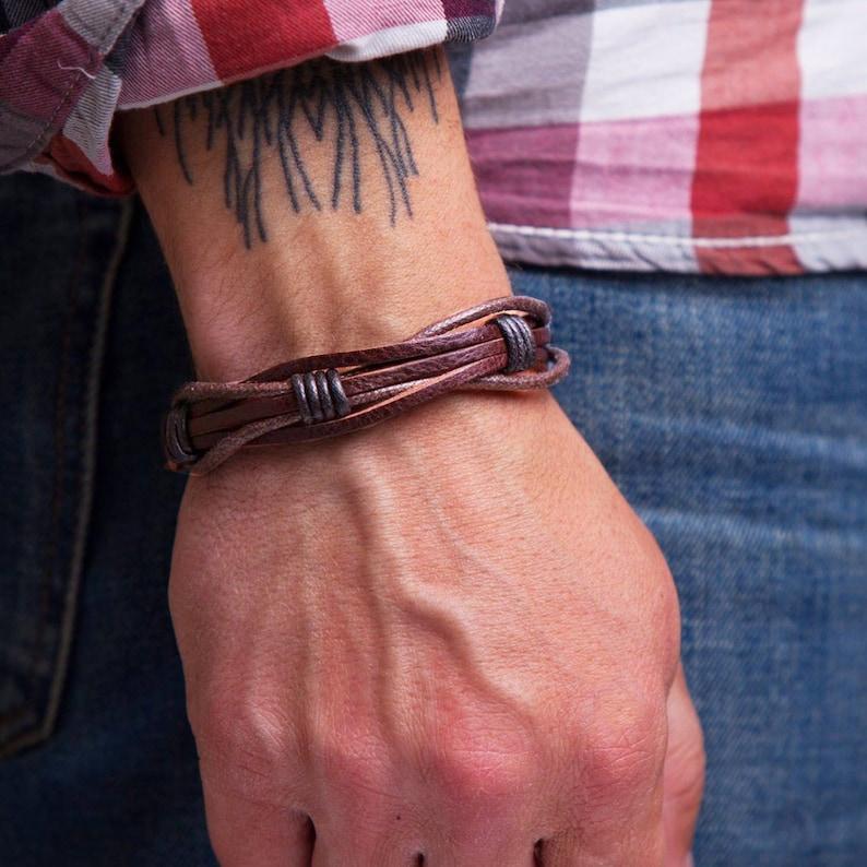 Mens Leather Bracelet Gift For Dad Husband