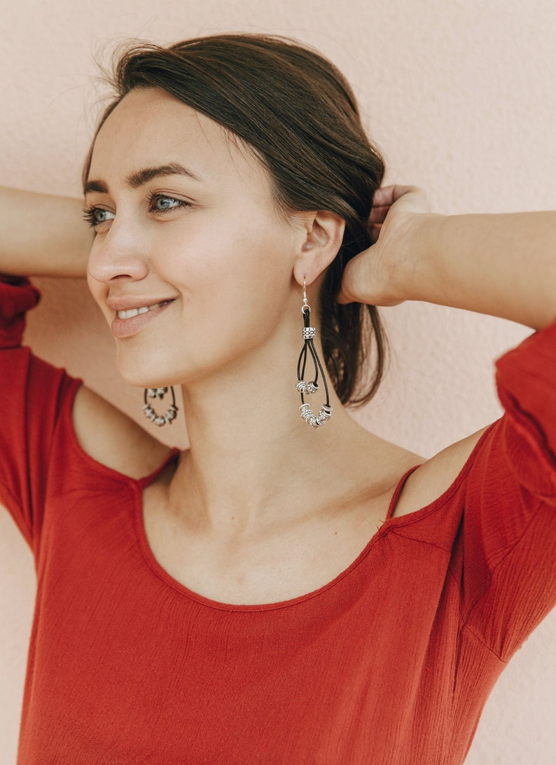 Boho Earring Dangle Drop Earrings Leather Gypsy Style Fun Gift for Her