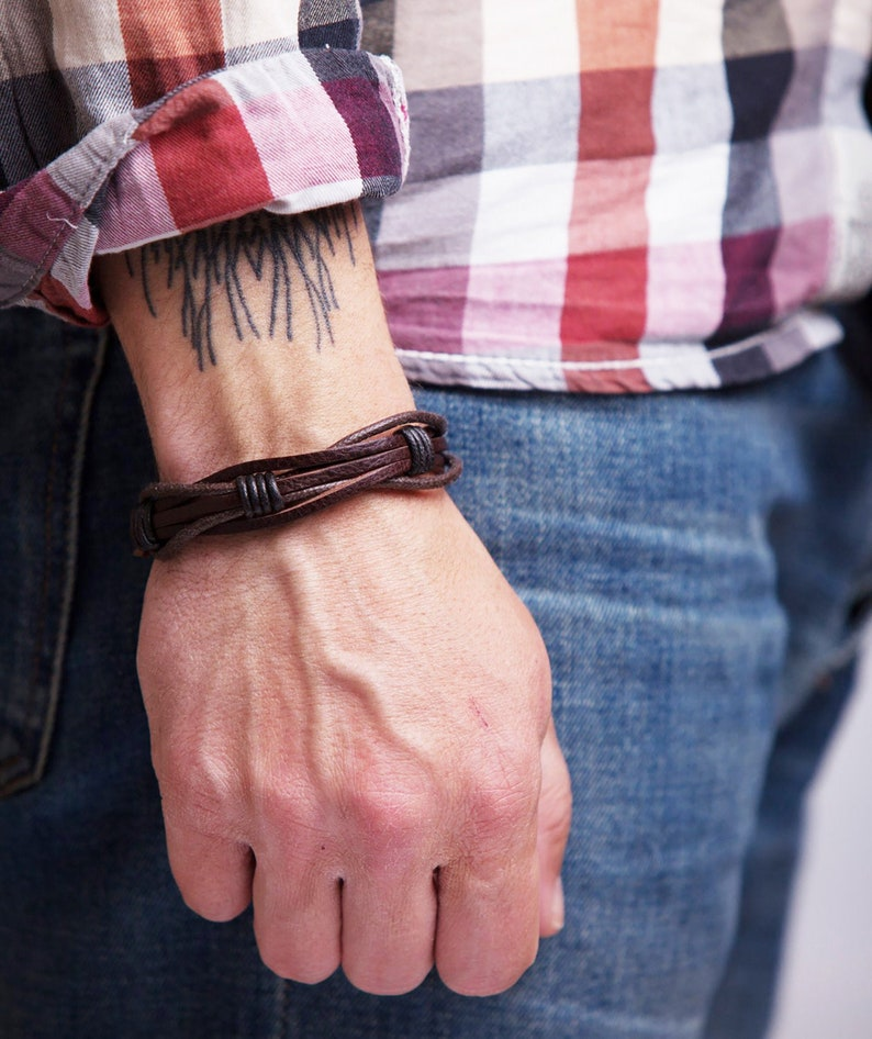 Mens Leather Bracelet for Men Rustic Brown Braided Leather image 0