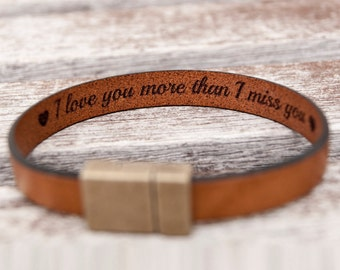 Boyfriend Gift Personalized Fathers Day Gift For Mens Gift Personalized Gift Hidden Secret Message Bracelet Engraved Leather Bracelet Custom