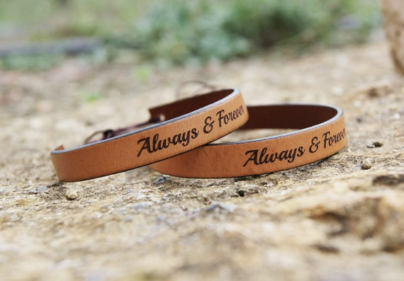Personalized Leather Valentines Gift for Him Always and Forever Couples Bracelet Gift for Boyfriend Husband Anniversary Gifts for Men