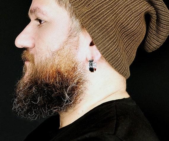 Mens Earrings Hoop Large Huggie Hoop Earrings For Men Leather Etsy