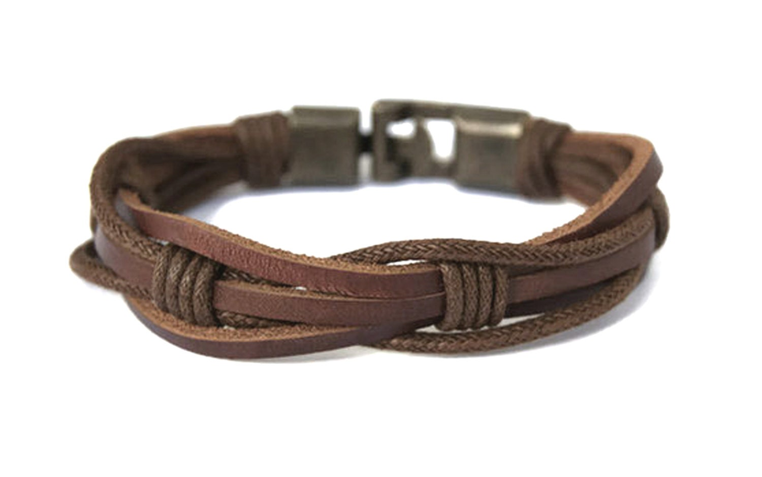 Mens Leather Bracelet for Men Rustic Brown Braided Leather ...
