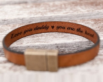 Custom Father's day Gift for Dad Personalized Boyfriend Gift Birthday Mens Gift Anniversary Gifts Hidden Secret Message Leather Bracelet