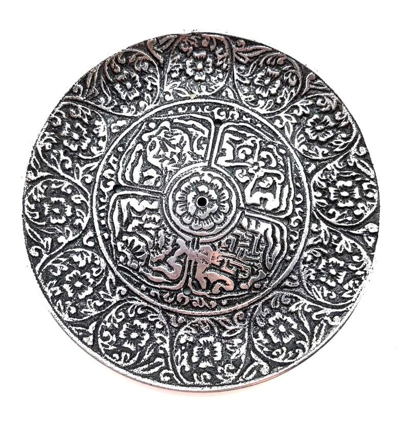 Tibetan Aluminium Round Incense Cone burner 4.5